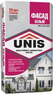 Белая цементная шпатлёвка UNIS Фасад Белый